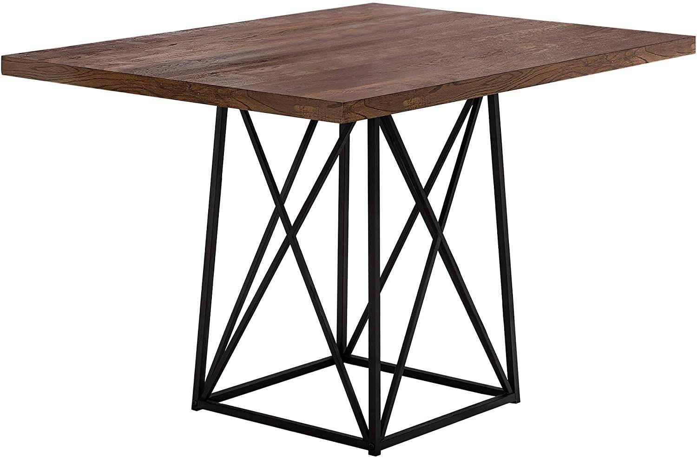 Monarch Specialties I 1107 Dining Table Metal 36 X 48 Brown Reclaimed Wood Look Black Base Hom Brown Dining Table Metal Dining Table Dining Table Black