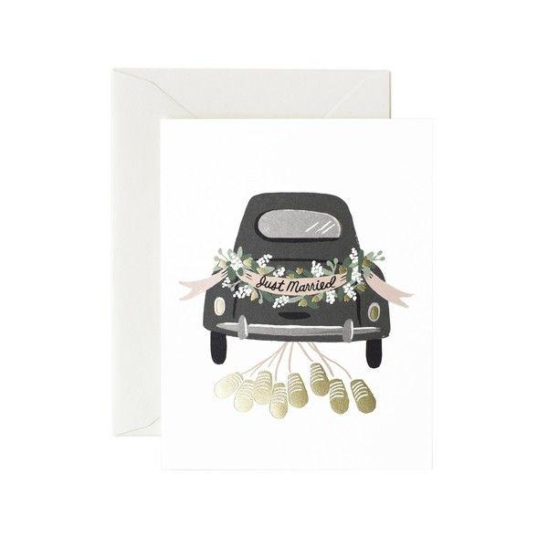 Carte double avec enveloppe ravissant dessin d 39 une voiture d cor e pour un mariage avec l - Dessin voiture mariage ...