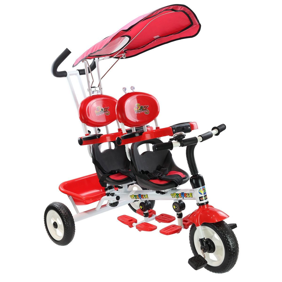 Twin Baby Stroller 4 In 1 Kids Toddlers Tricycle w// Safety Double Rotatable Seat
