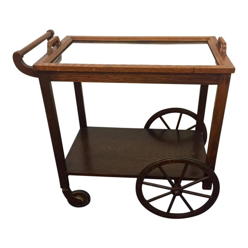 58032a2942e5 1960s Mid-Century Modern Bar Cart With Wagon Wheels and Removable ...
