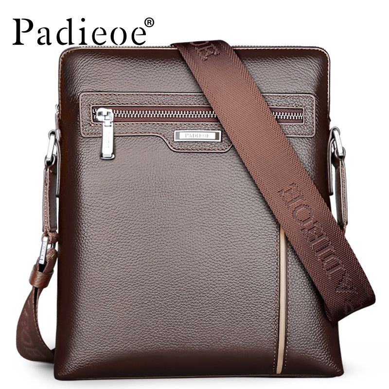 Paoe Genuine Leather Men Shoulder Bags High Quality Luxury Designer Cowhide Crossbody Bag Business Casual Messenger