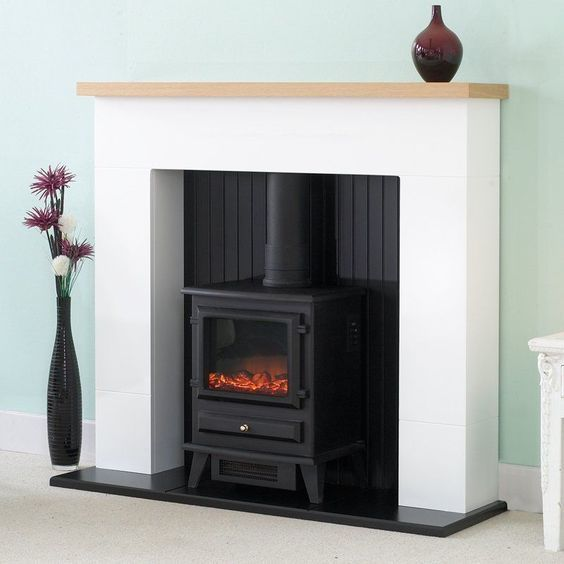 Electric Fire And Surround Part - 17: OAK MANTLE WHITE AND BLACK FIREPLACE ELECTRIC STOVE FIRE SURROUND  FREESTANDING In Home, Furniture