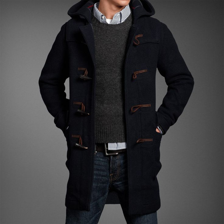 Men's Navy Duffle Coat, Charcoal Crew-neck Sweater, White and Navy ...
