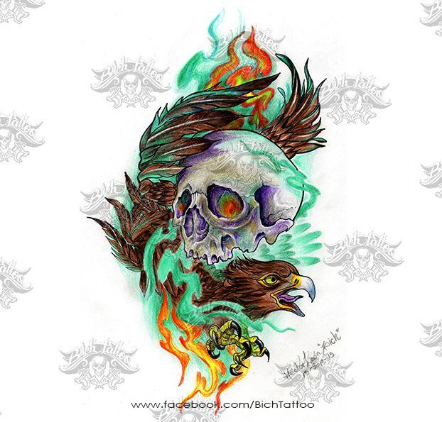 Boceto Aguila con Craneo  realizado por Hctor Len para