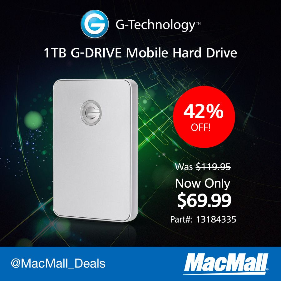 Storage you can take with you: Save 42% on a #GTechnology 1TB mobile G-Drive at MacMall.