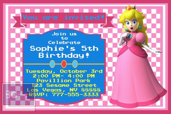Princess Peach Cutomizable And Printable Party Invitation