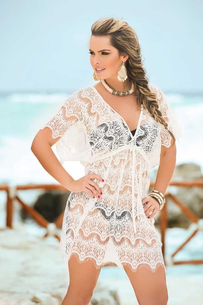 Vestido crochet blanco playa