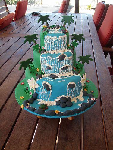 hawaiian birthday cake idea's | Mossy's Masterpiece-Candy's waterfall luau cake for her 18th birthday