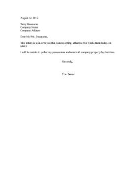 Resignation Letter Two Weeks Notice Job Resignation Letter Resignation Letter Short Resignation Letter