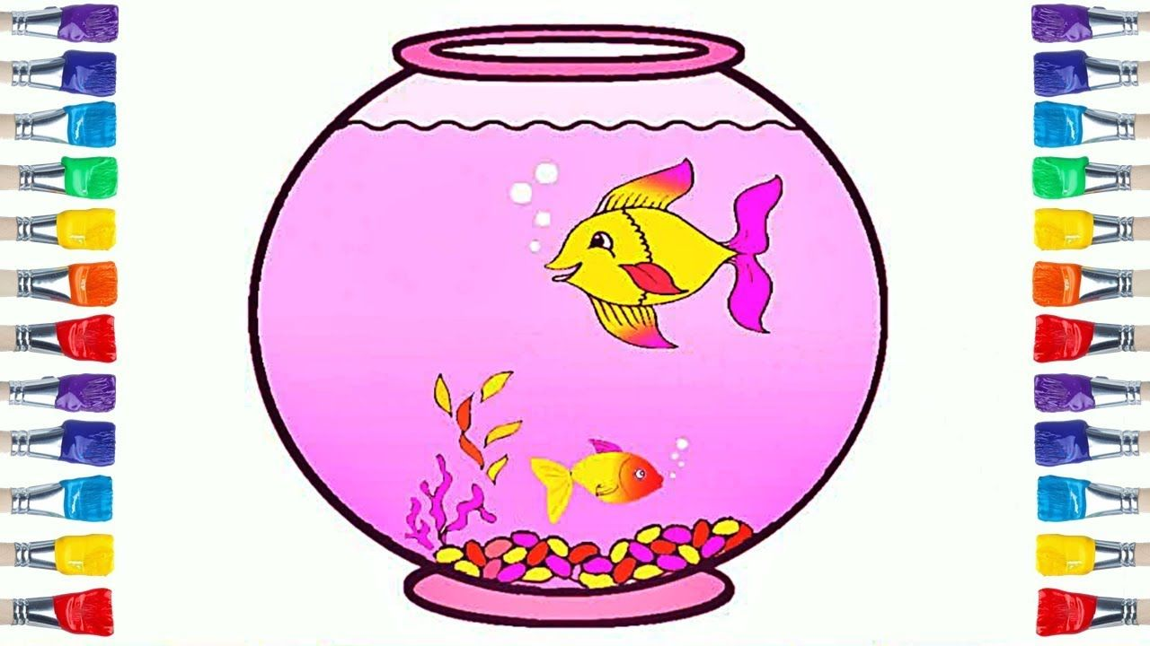 How To Draw Fish Tank Coloring Fish Coloring And Drawing For Kids Fish Drawings Drawing For Kids Drawn Fish