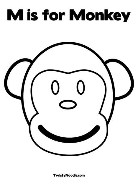 M Is For Monkey Coloring Page From Twistynoodle Com With Images