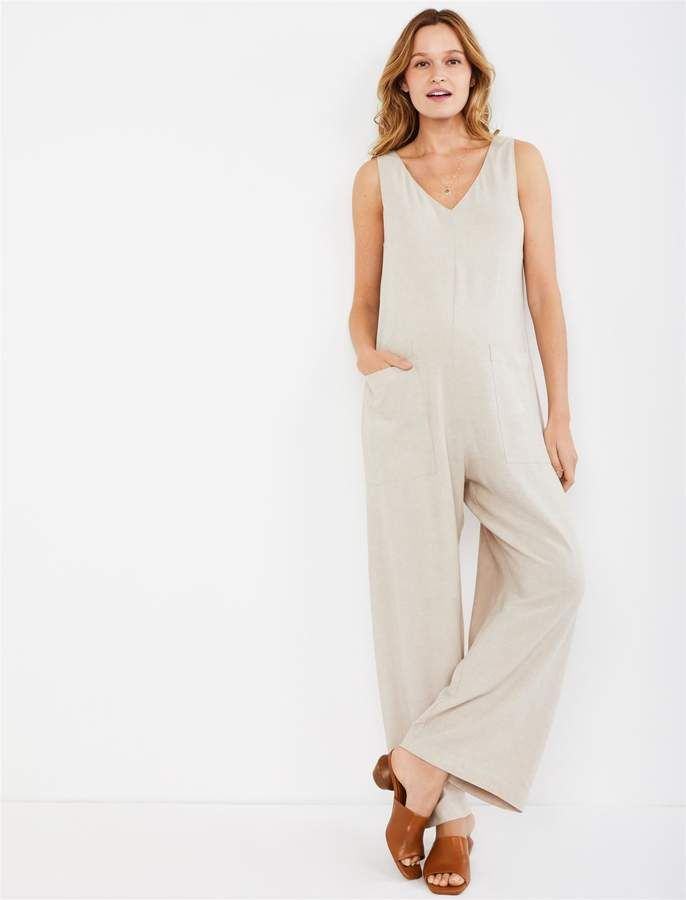 ff14b6a03f1f2 Pietro Brunelli Pea Collection Bianca Wide Leg Maternity Jumpsuit in ...