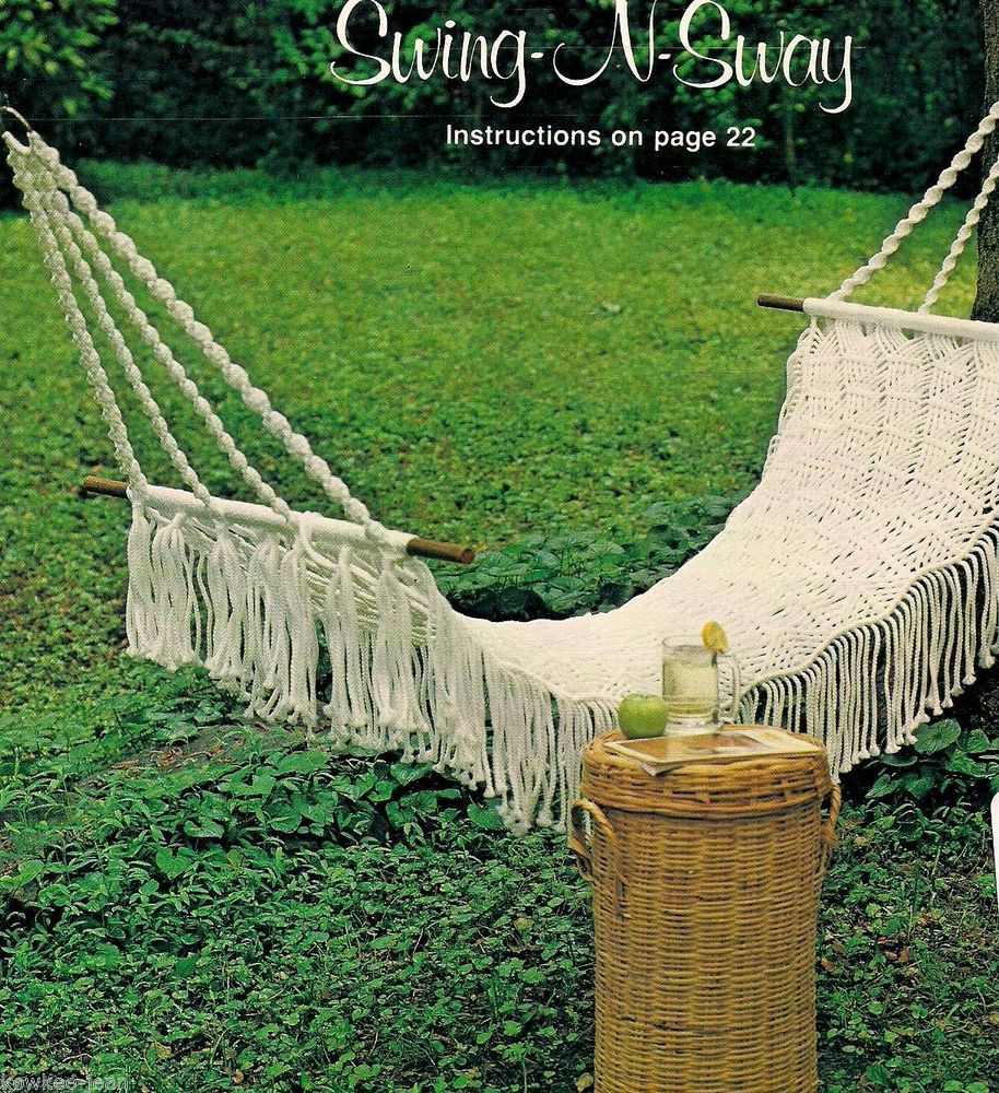 Sunny side of macrame patterns hammock sling chair footstool
