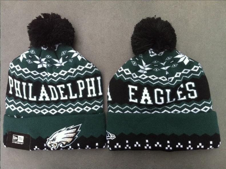Mens   Womens Philadelphia Eagles New Era NFL Sports Weather Advisory Cuffed  Knit Pom Pom Beanie Cap - Green   Black 992a6c6774b5
