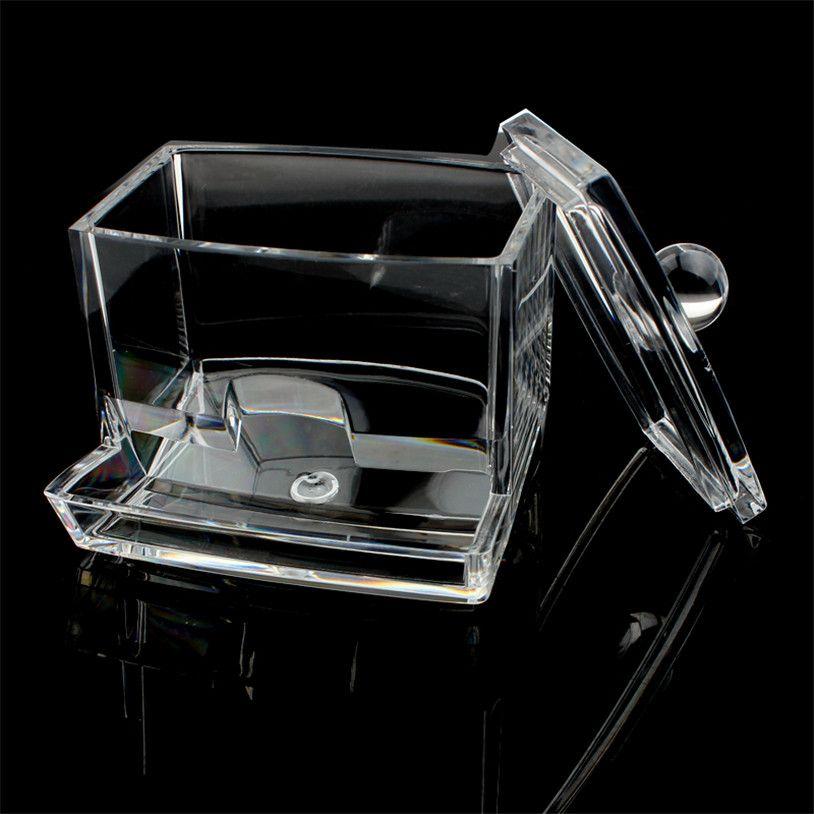 2016 New Design Clear Acrylic Cotton Swab Q Tip Storage Holder Box Cosmetic  Makeup Tool Women Storage Box