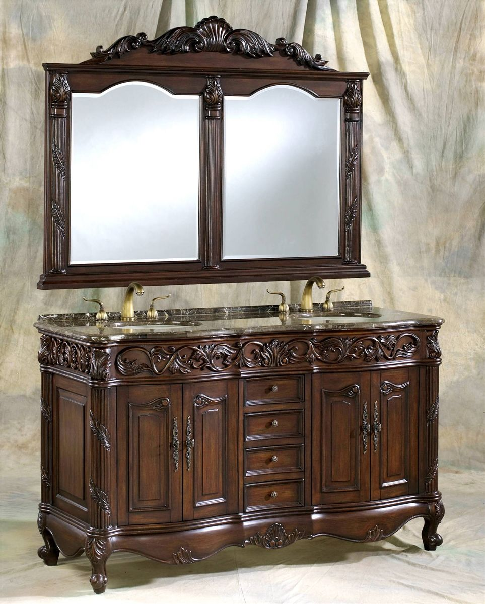 60 double sink vanity. 60 Inch Brown Cherry Double Sink Vanity Set  Details