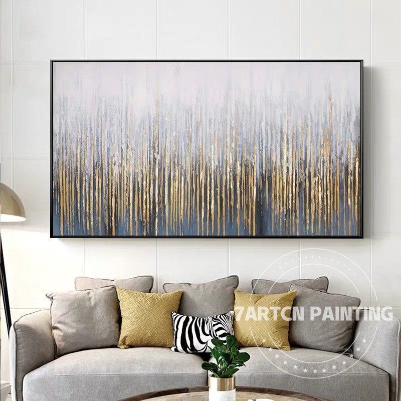 Gold Leaf Art Modern Abstract Gray Tree Forest Painting On Etsy Modern Art Canvas Painting Forest Painting Gold Leaf Art
