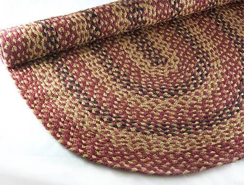 Braided Rug Cinnamon Black Red Country Primitive 11 Sizes