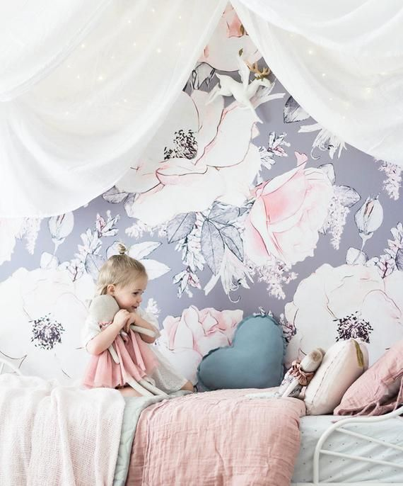 Hand Painted Flowers Girls Kids Nursery Wallpaper Wall Mural