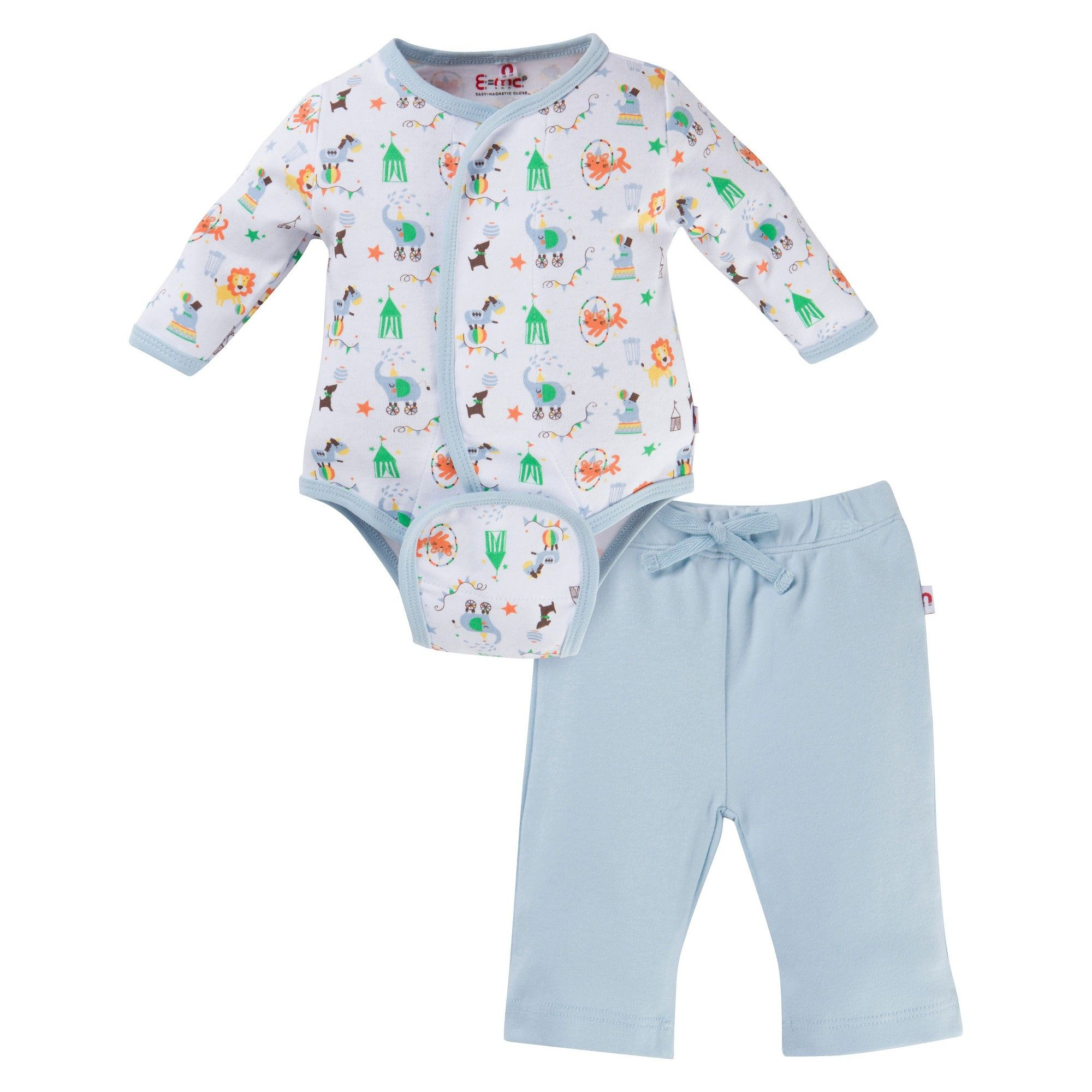 E=MC2 Magnetic Baby Boys Circus Bodysuit and Pants Blue 3 6M