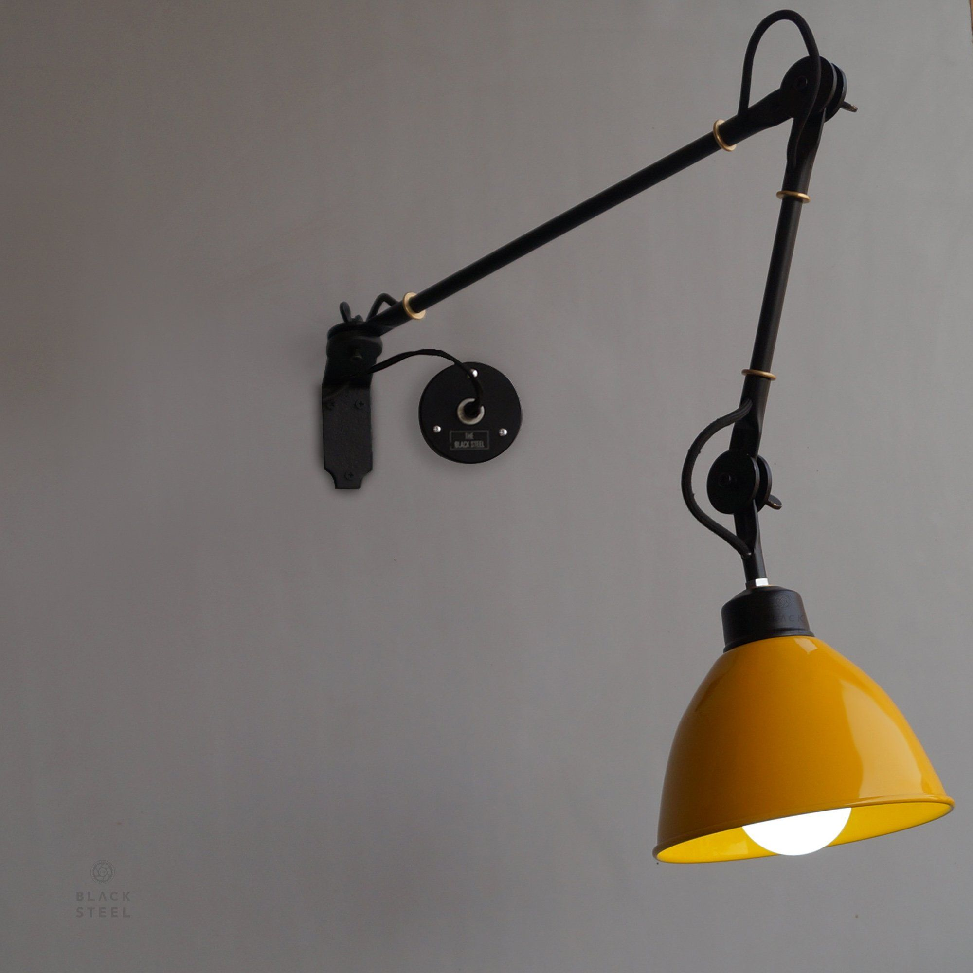 Yellow Wall Sconce De Stijl Inspired Swing Arm Wall Mounted Light V3 0 Black Wall Lamps Wall Mounted Lamps Wall Mounted Light