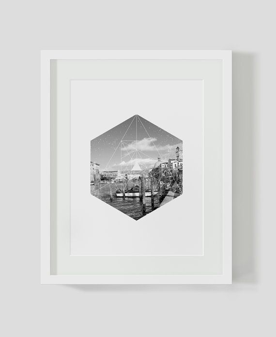 Venice Italy Print Black and White Photography by goldenartichoke