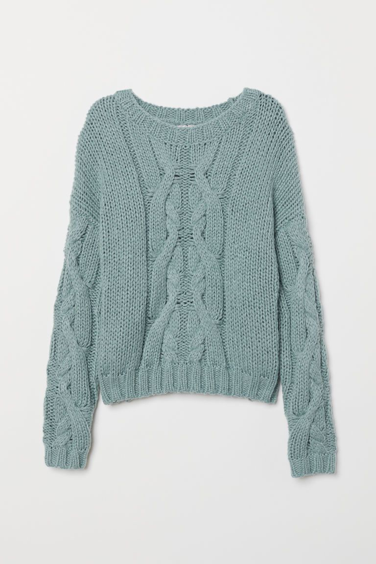 8048fc41d31 H&M Chunky-knit Sweater - Turquoise in 2019 | Fashion | Chunky knit ...