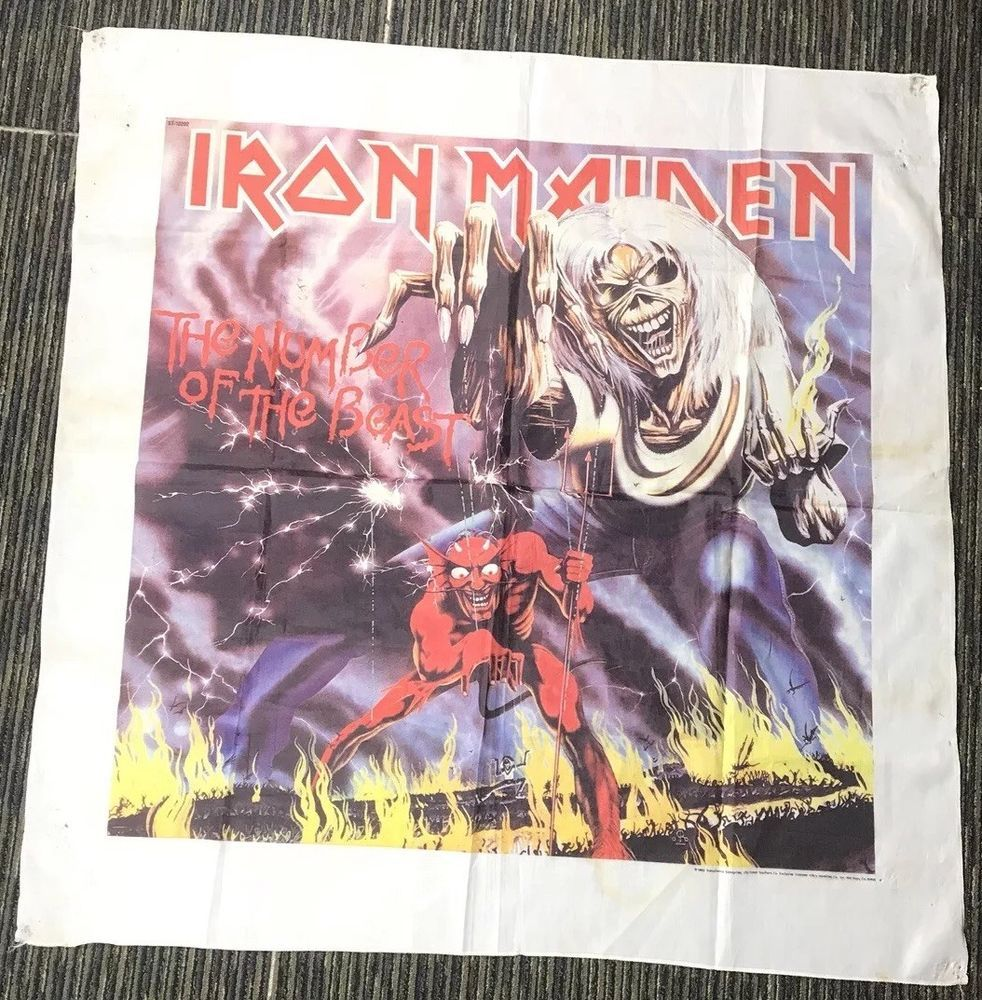 Rare 80s Iron Maiden Number Of The Beast Tapestry Banner Cloth
