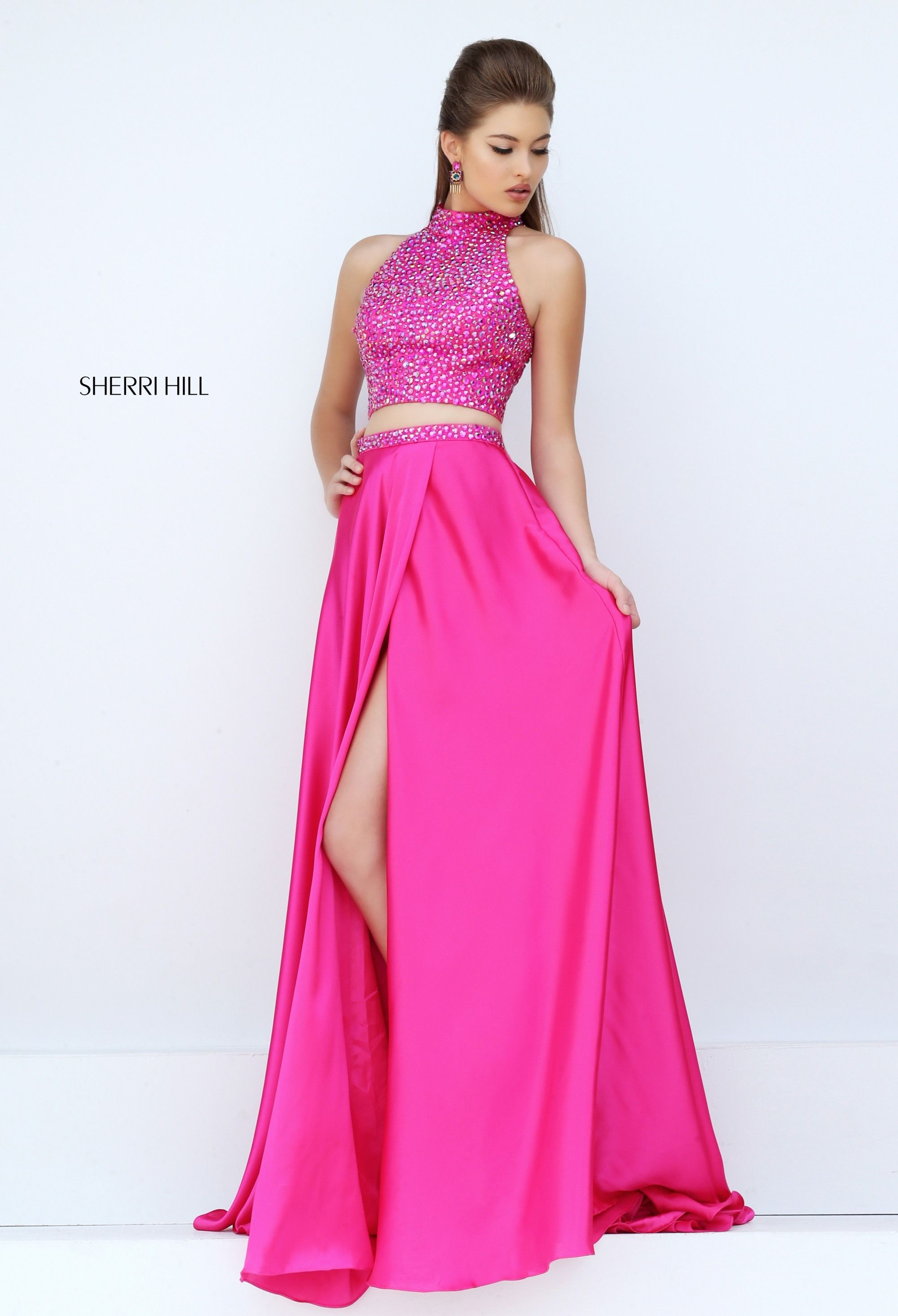 Sherri Hill fuschia bright pink hot pink playful halter top neckline ...