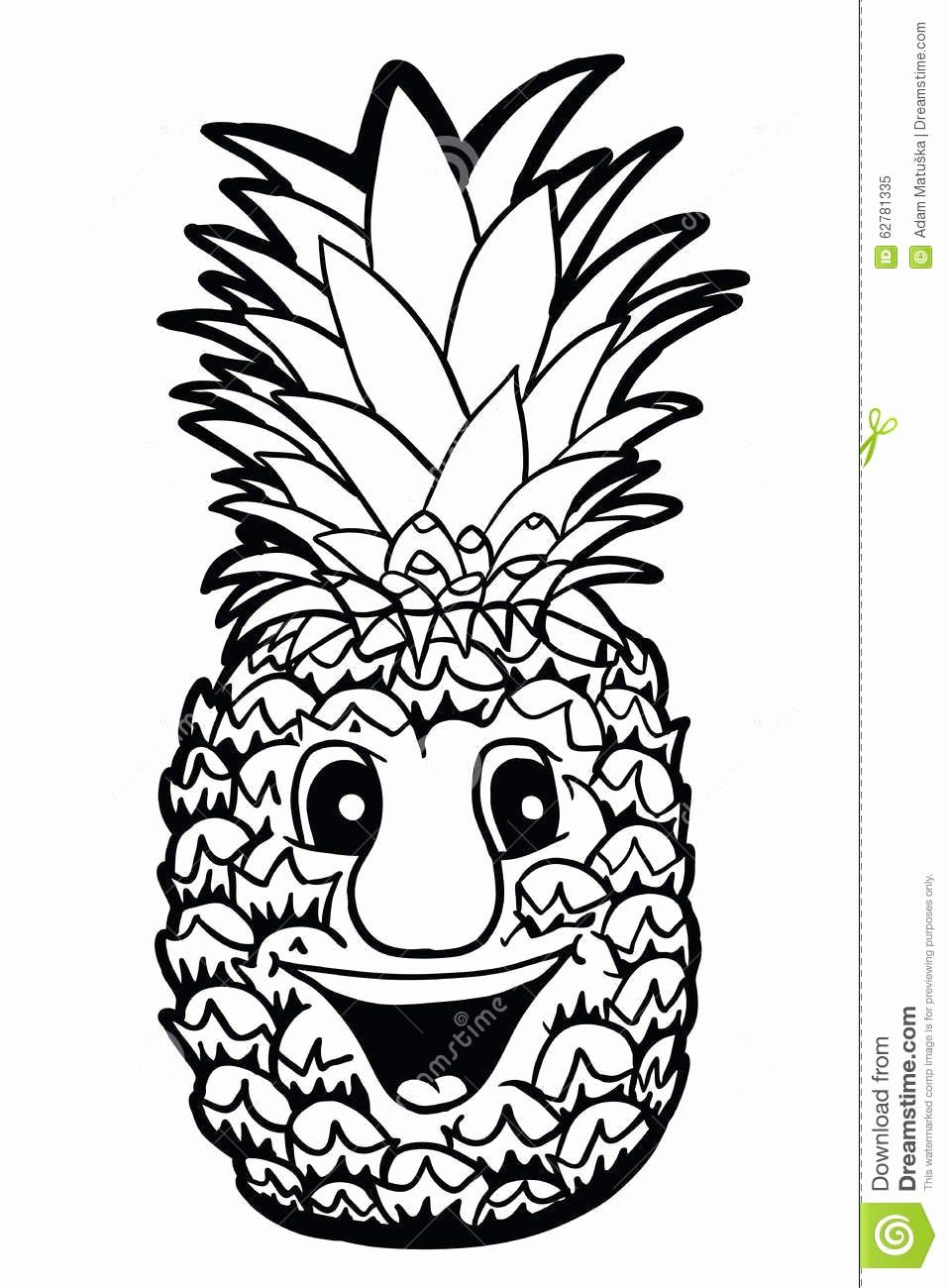 Cute Pineapple Coloring Page Inspirational Pineapple With Smile Stock Vector Image In 2020 Cat Coloring Page Pokemon Coloring Pages Bear Coloring Pages