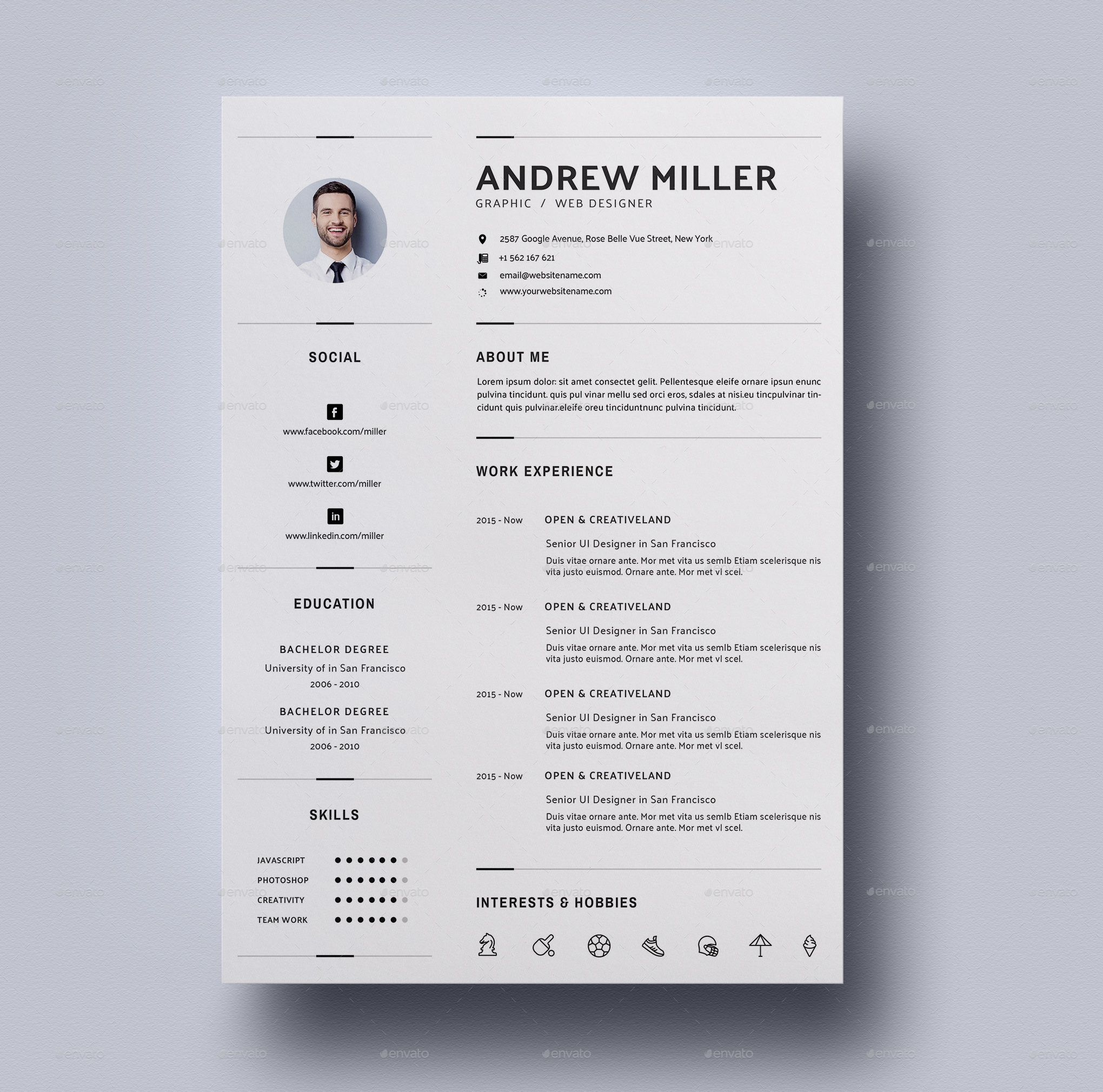 Resume By DimensionDesign8