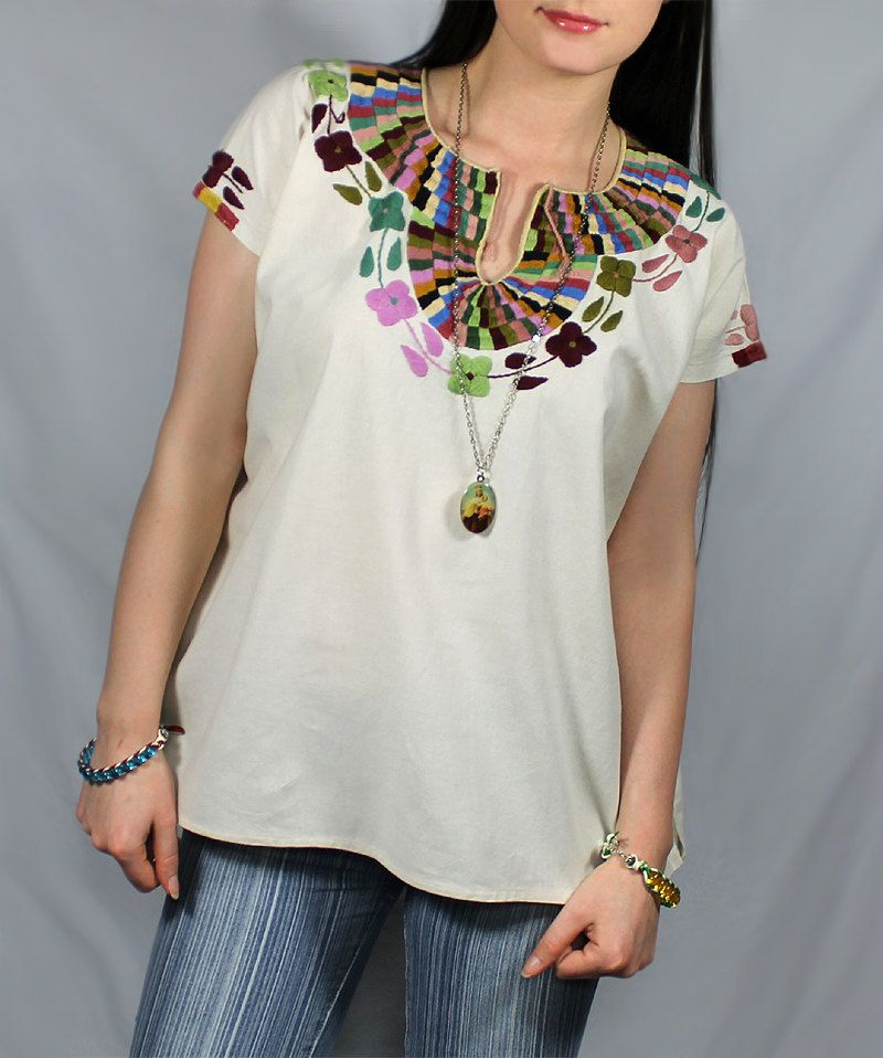 Vintage 60\'s 70\'s style HiPPiE Oaxacan Huipil Embroidered Tunic Top ...