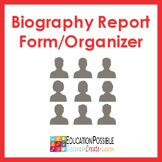 Biography Report Form Template And Organizer  Writing Assignments