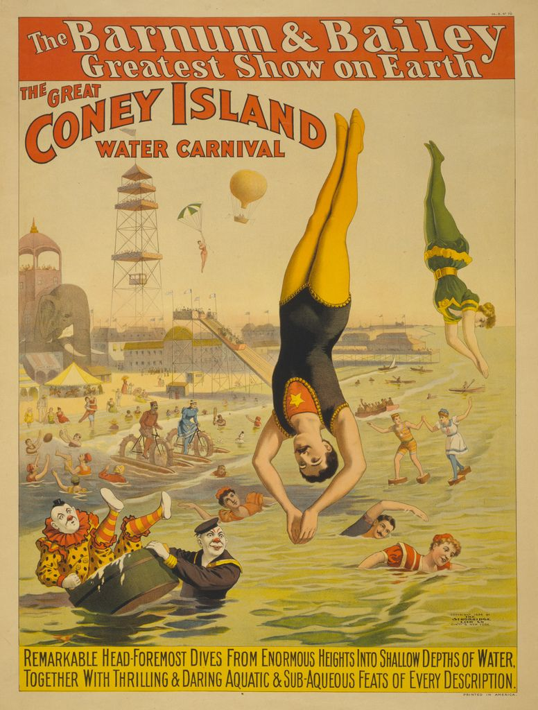 The Great Coney Island Water Carnival With Images Vintage Circus Posters Circus Poster Carnival Posters