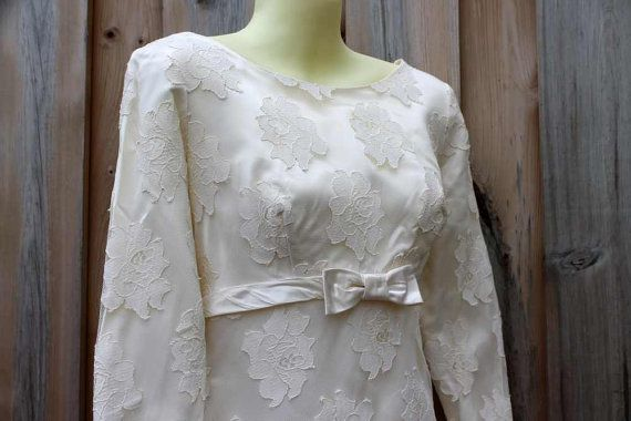 Empire Waist Wedding Gown 1960's Ivory Lace Long Sleeved