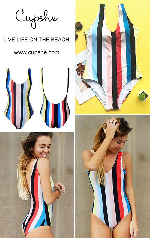 9c7839344b4 High quality & Better service! You will captivate everyone in the crowd.  This multi-color one-piece features open back design&high leg cut! Get this  striped ...