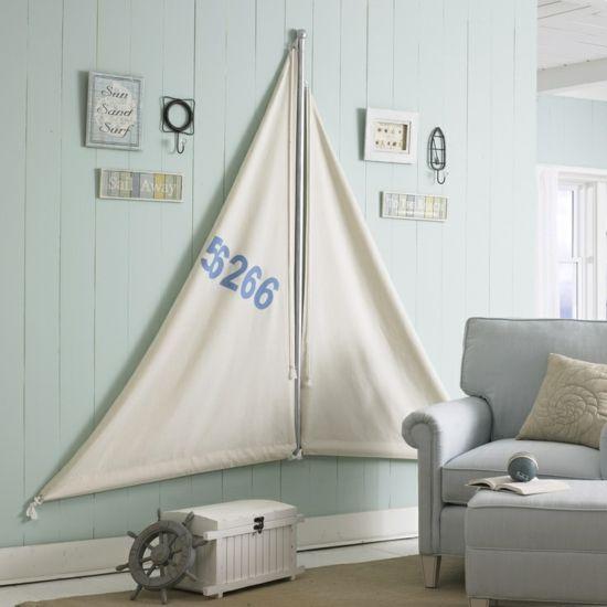 seesegel wohnzimmer maritime look deko selber basteln | mein, Wohnzimmer dekoo