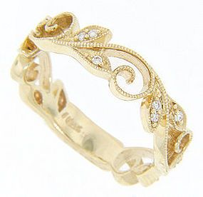 Antique Style Yellow Gold Diamond Wedding Band LOVE This So Much