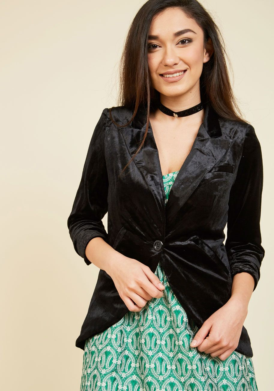 22ce0efd9785 Fine and Sandy Velvet Blazer in Black. No need to roll up your sleeves  before the big meeting - this one-button blazer boasts ruched 3/4-length  sleeves for ...