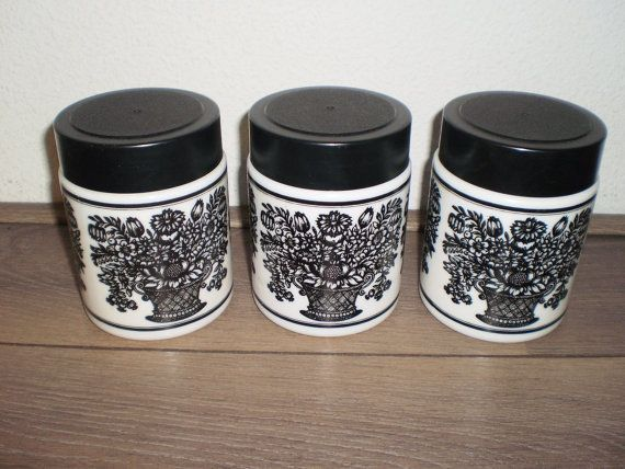 Opal set of 3 white and black flower canisters  by PurePopulus, $29.95