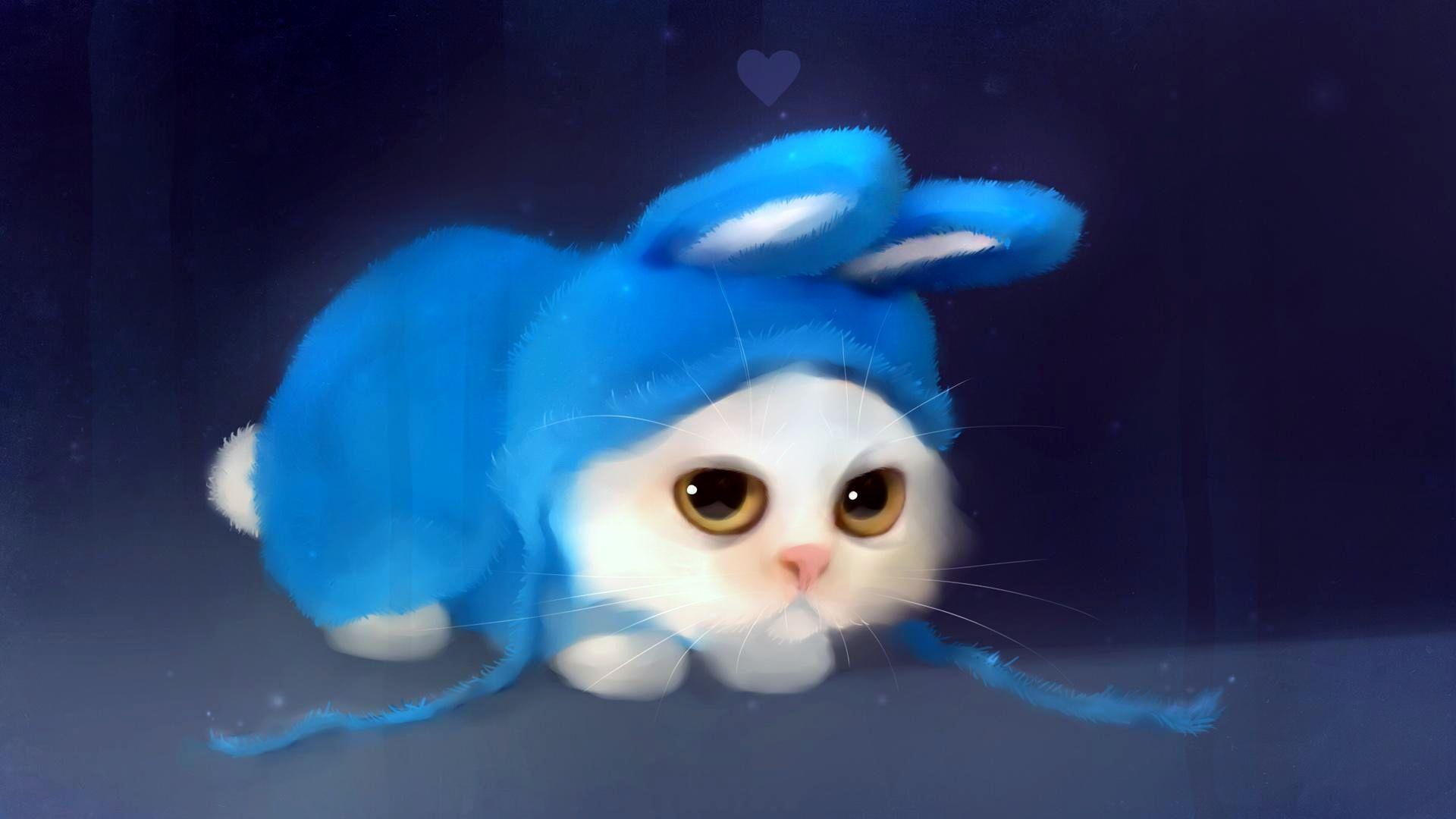 Cute Cat Hd Wallpaper For Desktop Animal Paintings Animal Wallpaper Bunny Wallpaper