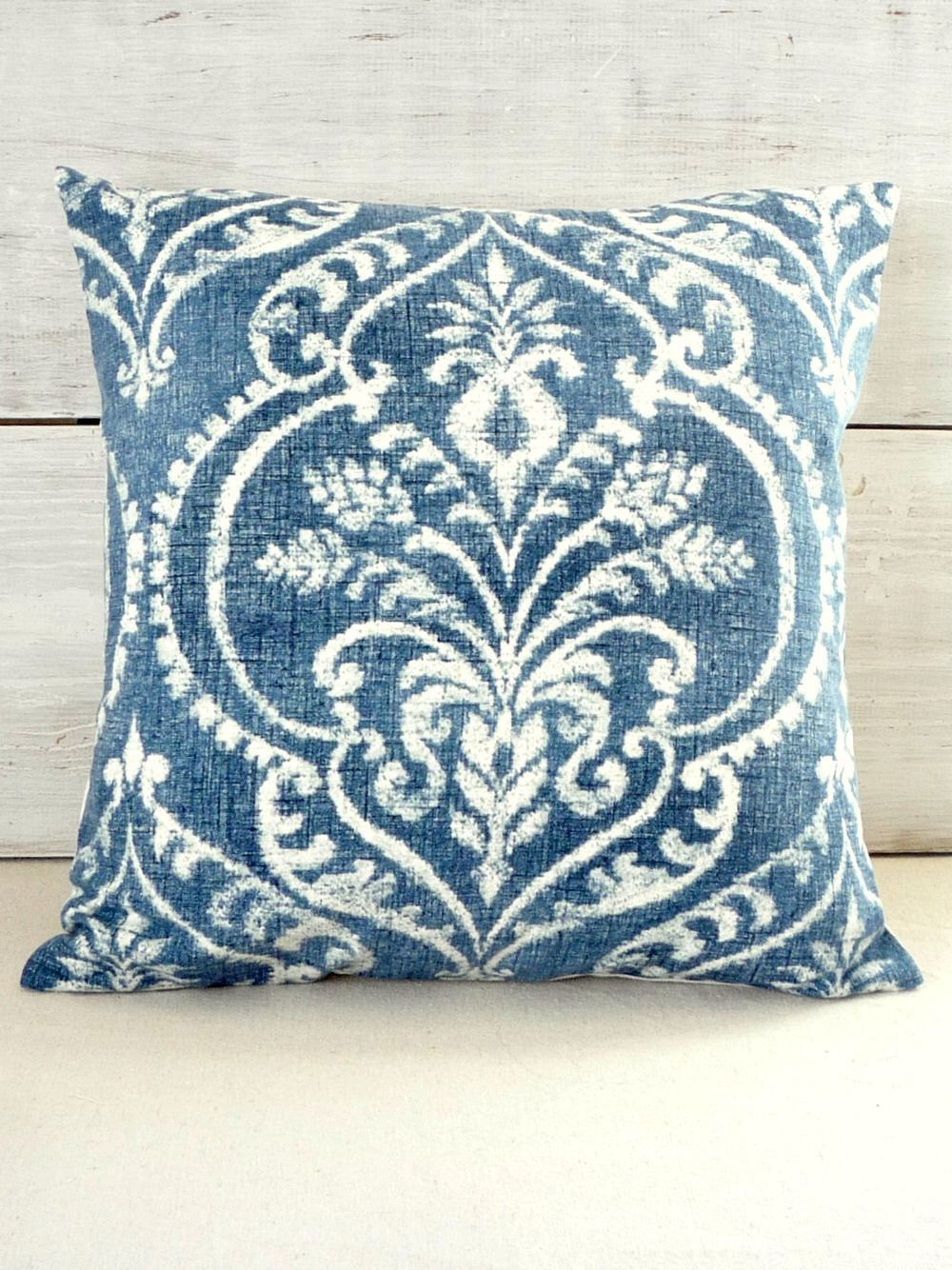 Denim blue damask pillow cover throw pillow for shabby