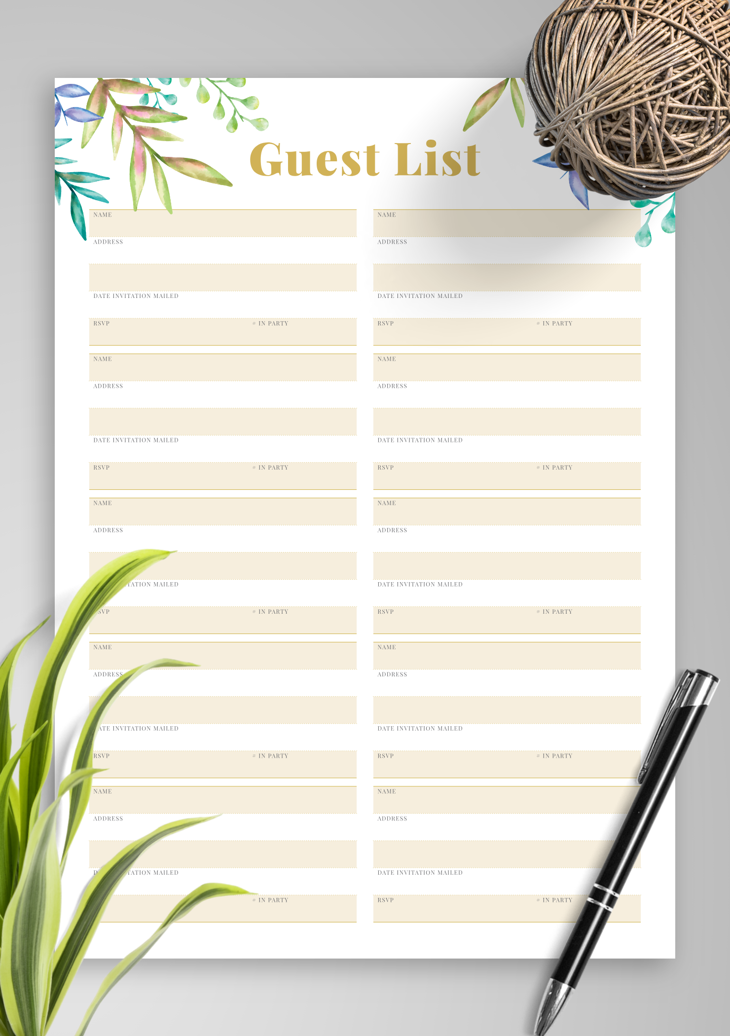 Use this printable wedding guest list template to keep