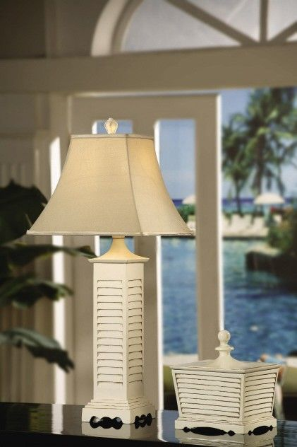 White Shutter Table Lamp Beach House Interior Design White Shutters Beach Cottages