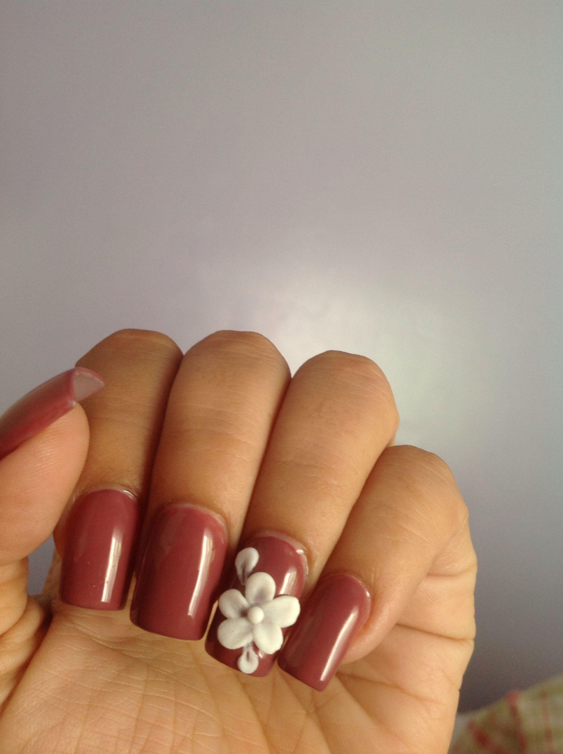 Neutral acrylic nails with 3D design   Nails   Pinterest   3d design ...