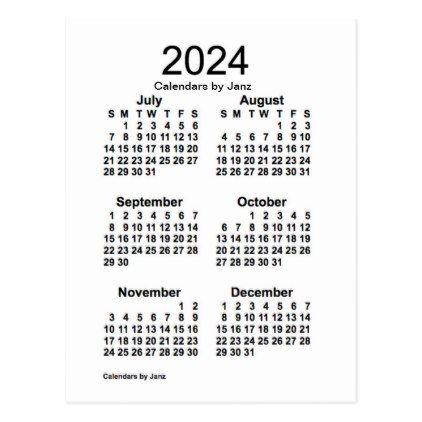 2024 White 6 Month Mini Calendar by Janz Postcard Saturday saturday