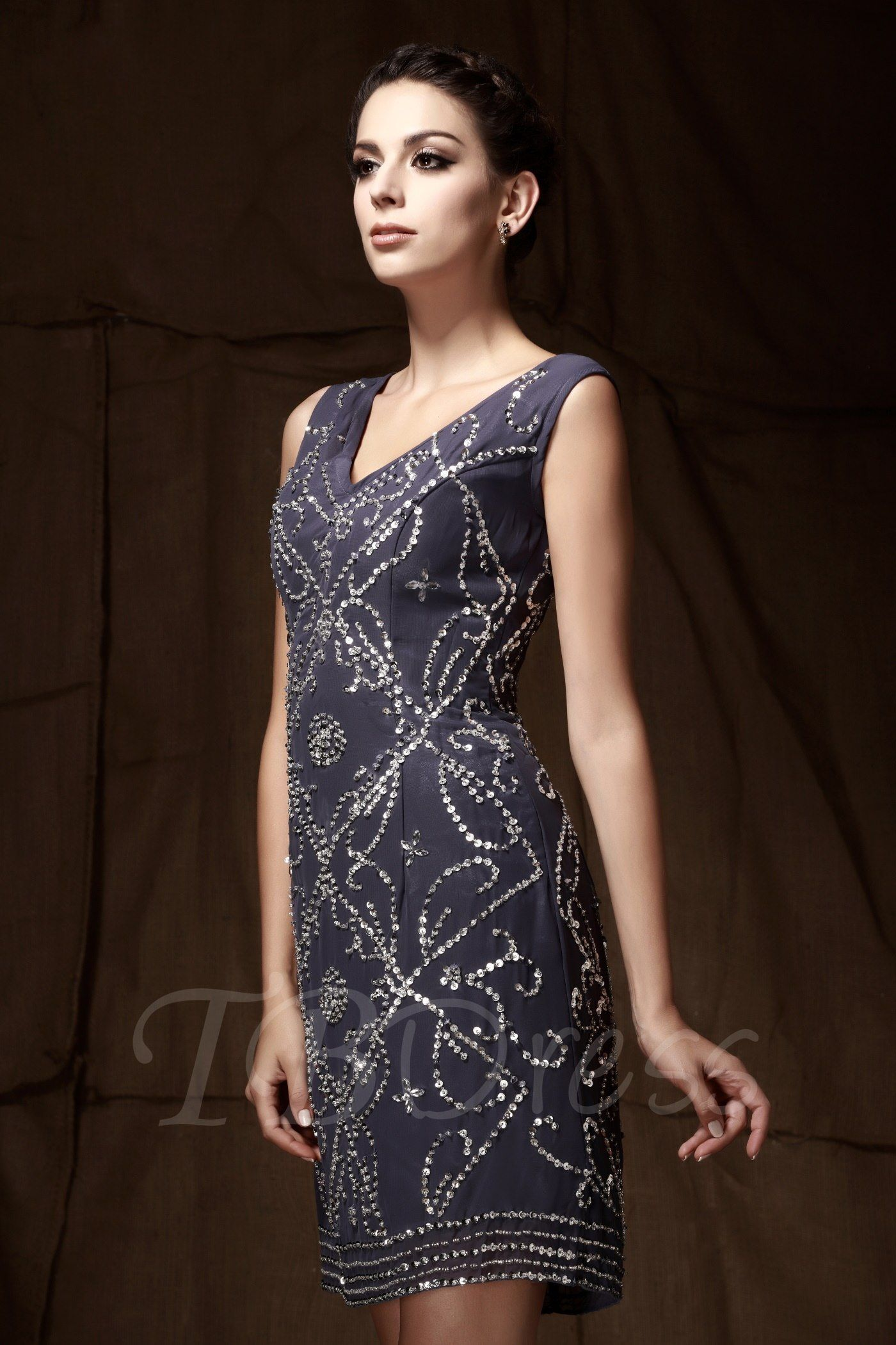 Sequins beaded column mother dress with jacket mothers dresses