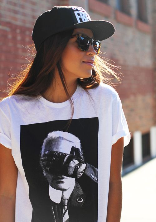 8e70660334a Girl. Summer. Simple. Dark. Tee. Black   White. Cap. Sunglasses. Light.  Fashion. True Style. Street. Print. Wonderful. +1