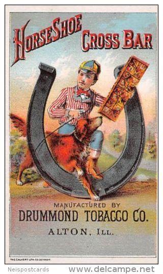 Horseshoe Cross Bar , Drummond Tobacco Co. Trade Card , Jockey & Dog , Giant Horseshoe , Alton , Illinois , 1890s - Delcampe.com