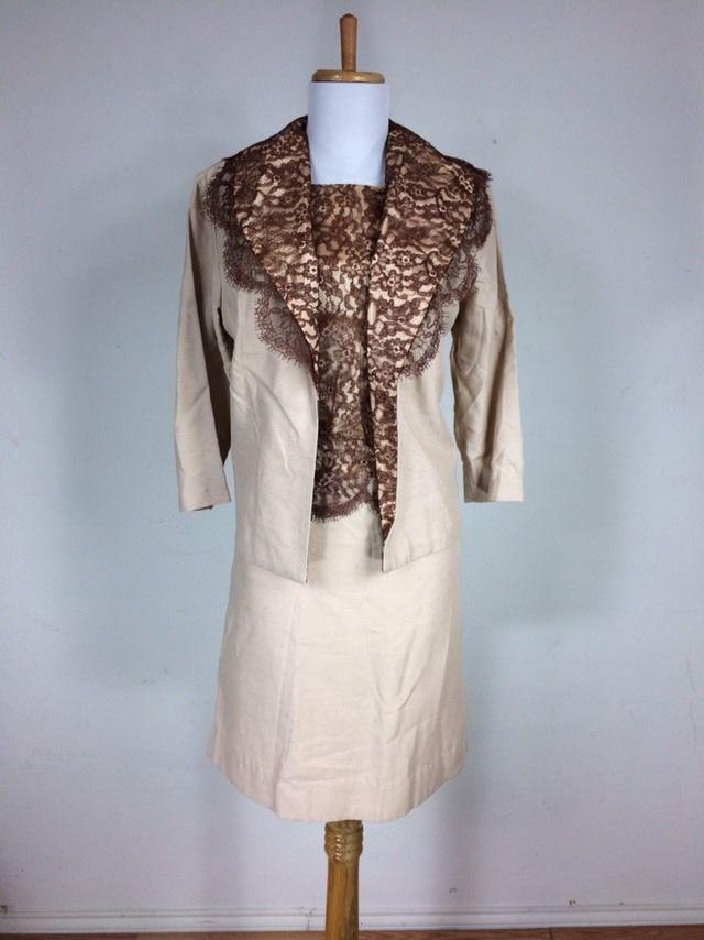 Vintage 1960s 50s Shantung Silk Brown Floral Lace Dress Suit M